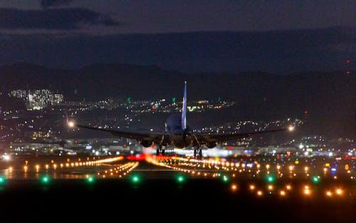Free stock photo of airplane, airplane landing, night