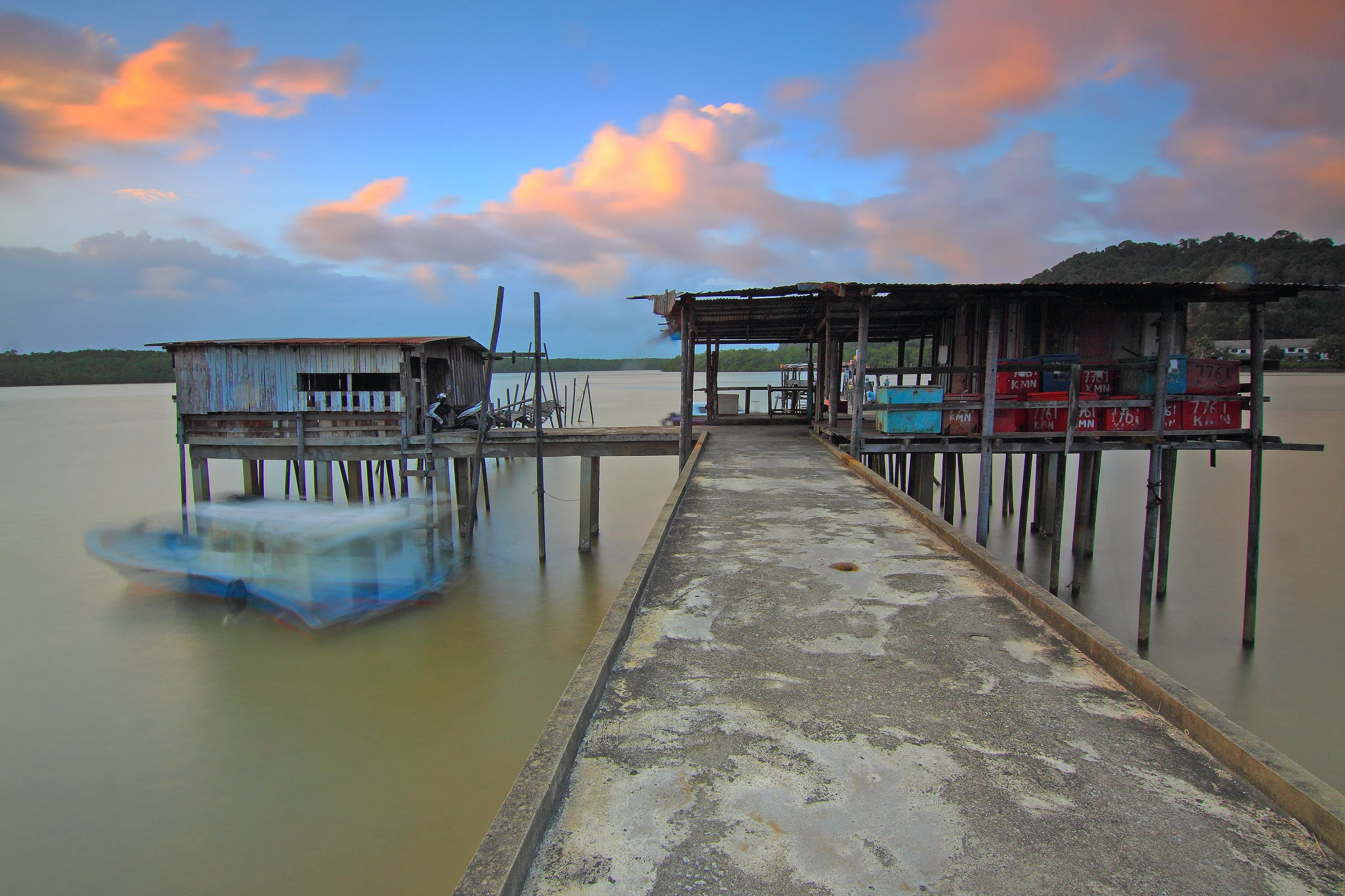 Brown Wooden Dock Under White Clouds