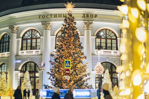 Low angle of decorated Christmas tree with blue and golden toys and glowing lamps on street against exterior of old building in evening city