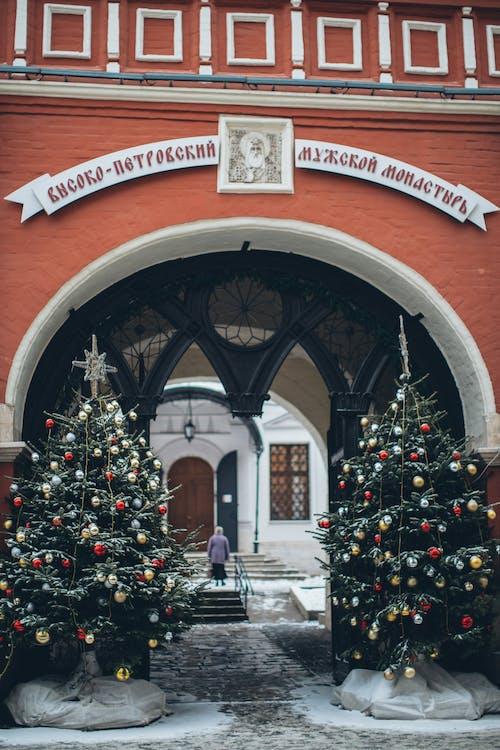 Old church facade with Christmas trees near arch entrance