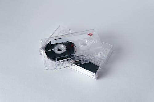 White Cassette Tapes on White Background