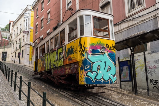 Free stock photo of art, graffiti, public transportation, tram