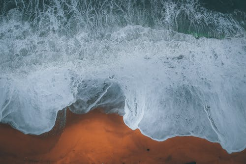 Aerial View Photo of Waves on Seashore
