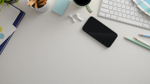 Black Iphone 7 on White Table