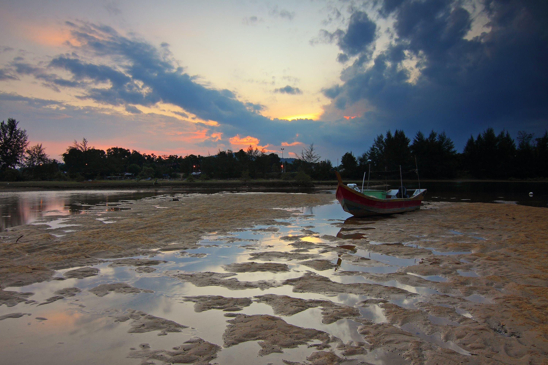 beach, boat, dawn