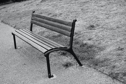 Free stock photo of wood, bench, black-and-white, landscape