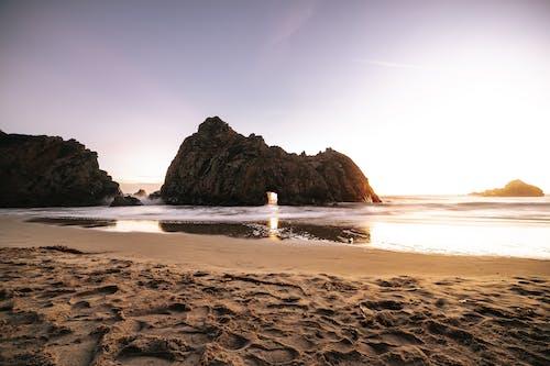 Foto Der Küste Während Der Goldenen Stunde