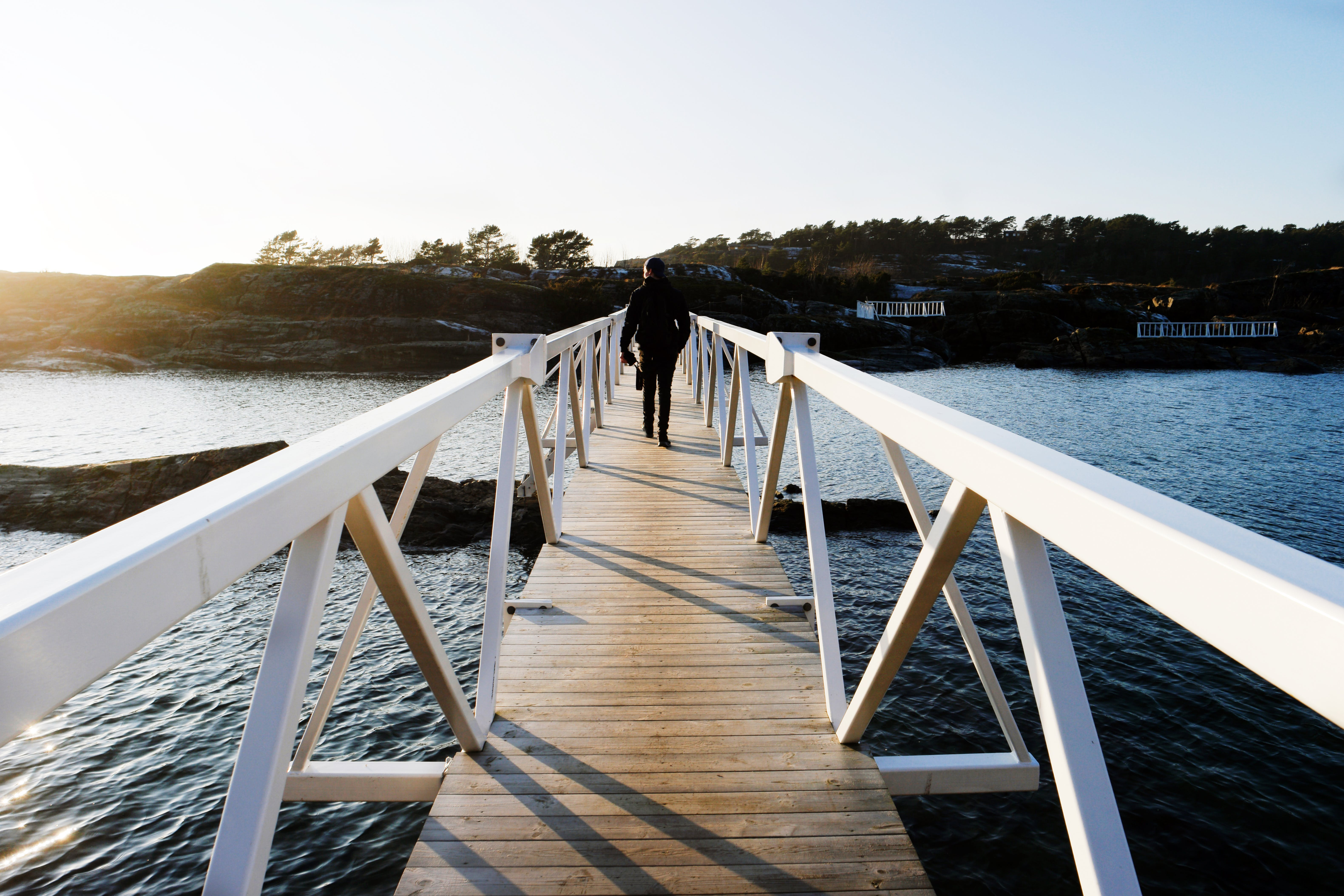 Brown And White Wooden Bridge