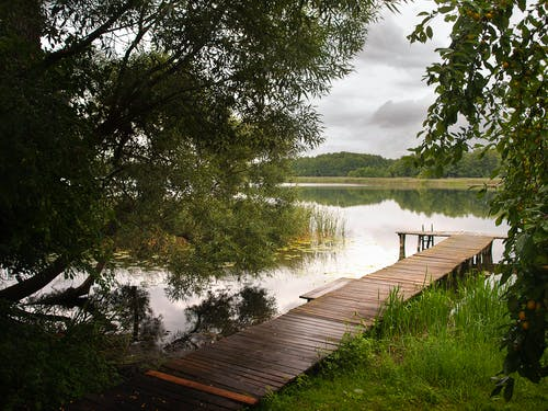 Free stock photo of lake, wooden deck