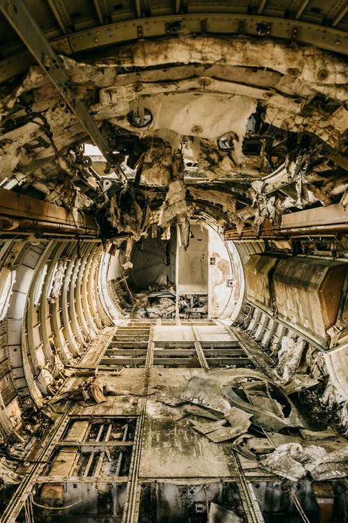 Interior of aircraft cabin after having accident