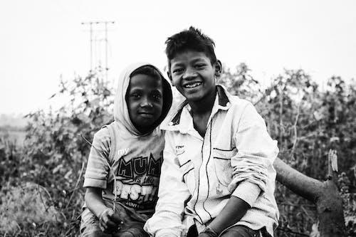Free stock photo of black and white, black child, child
