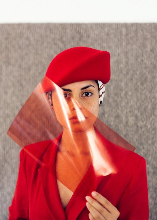 Stylish ethnic woman in elegant suit and headdress