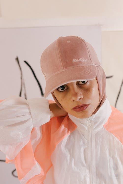Woman Wearing Pink Hat