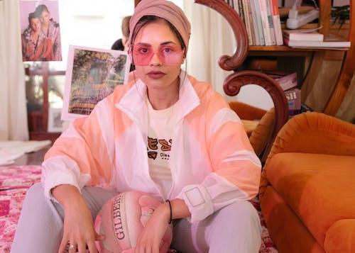 Woman Wearing Pink Sunglasses
