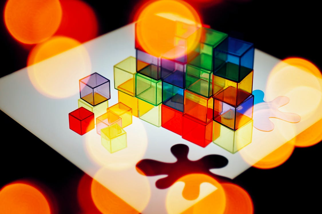 Colorful Cubes And Puzzle Piece