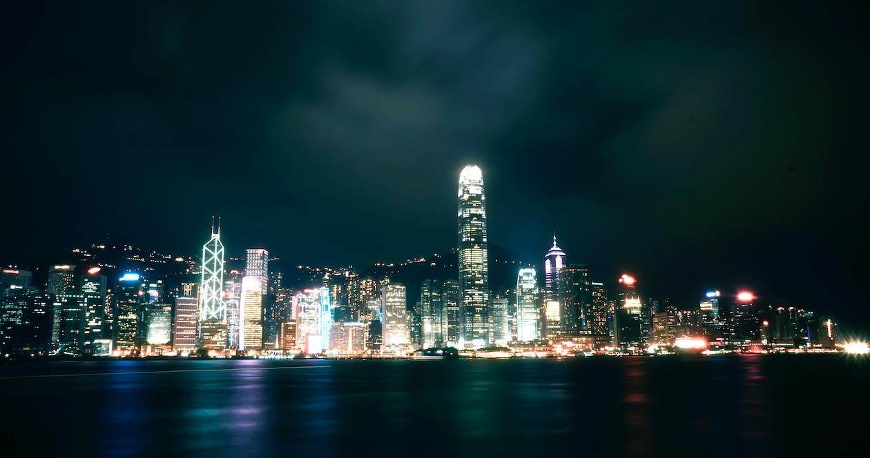反射, 城市, 城市的燈光