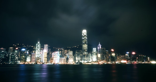 Free stock photo of sea, city, sunset, night