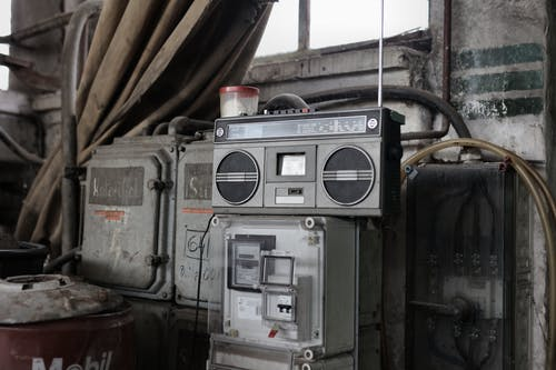 Retro radio tape recorder in workshop