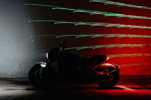 Parked Black Cruiser Motorcycle