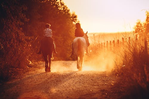 Unrecognizable siblings riding horses on pathway with colorful dust outdoors