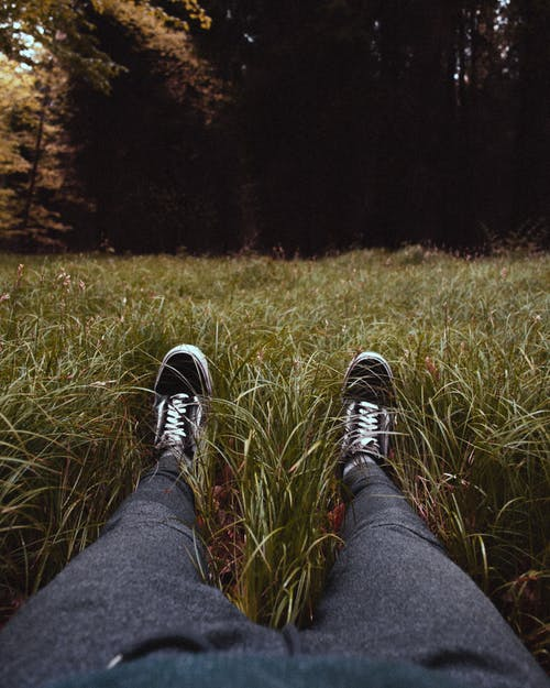 Crop man with sneakers resting on green grass