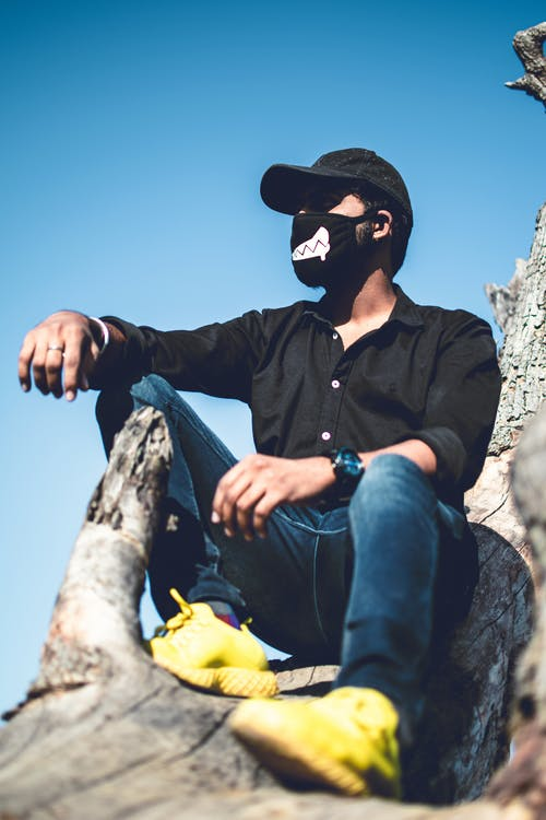 Free stock photo of black jacket, black mask, masked