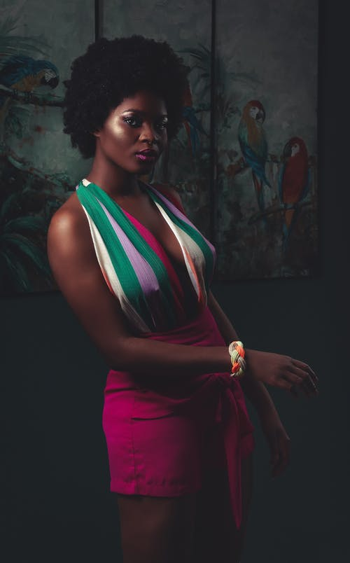 Người Phụ Nữ Mặc Váy Không Tay Nhiều Màu đứng