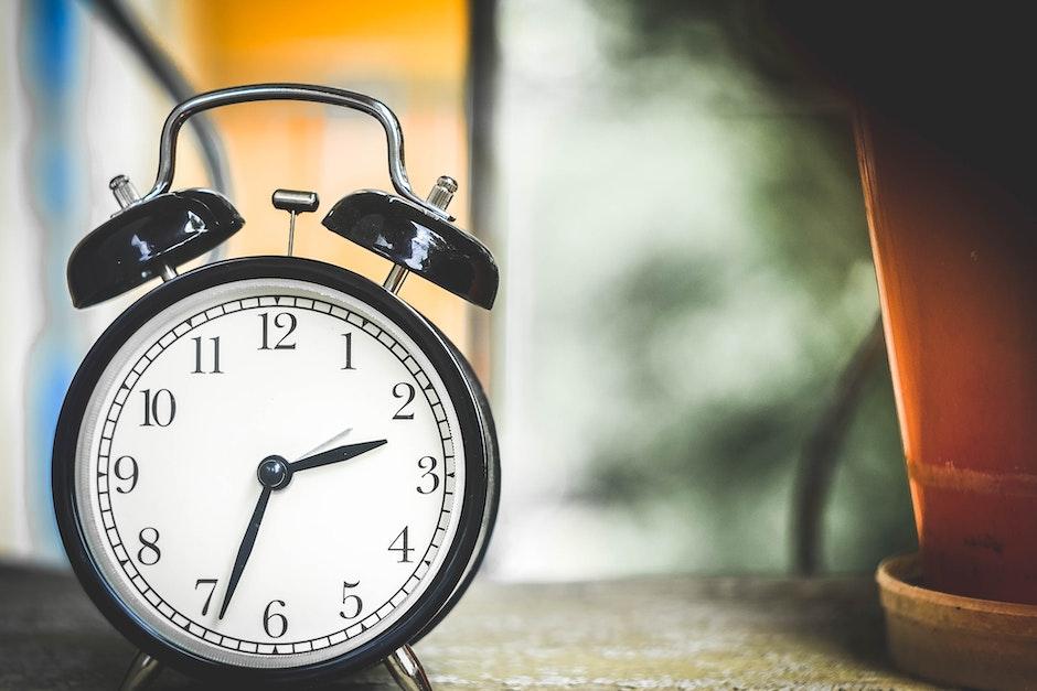 Black and White Alarm Clock at 2:34