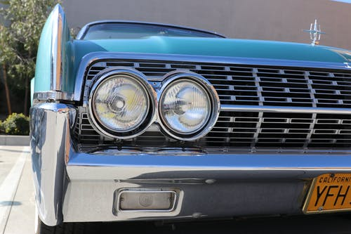 Free stock photo of #car #mobile #auto #blue #silver #glow #shine #green # old-school #photo #image #photography #lightroom #perspective