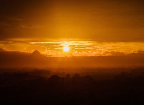 Free stock photo of aerial photo, dawn dusk, gold, golden sun
