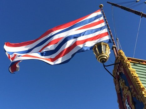 Blue White Red Striped Flag