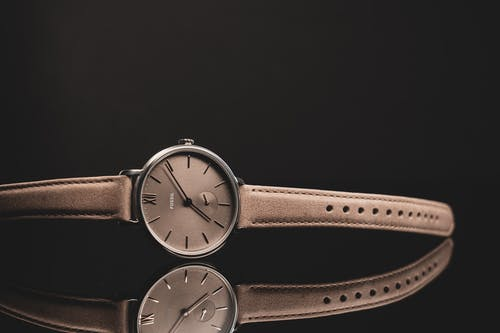 Round Analog Watch With Brown Leather Strap