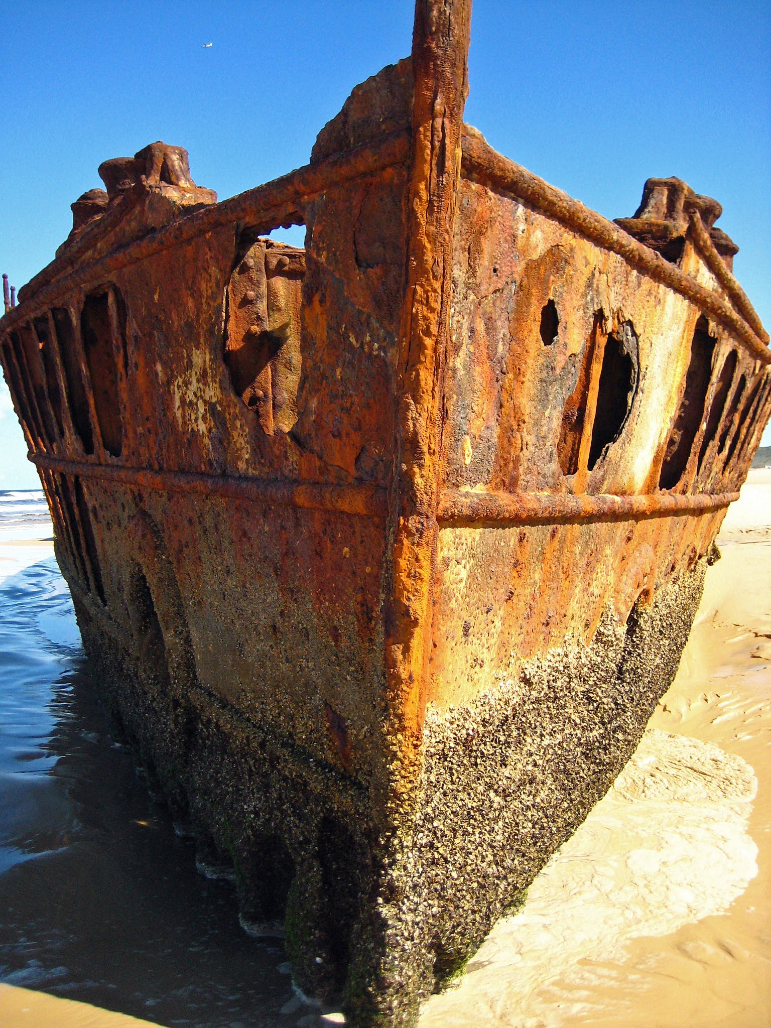 Brown Metal Shipwreck on Seashore during Daytime