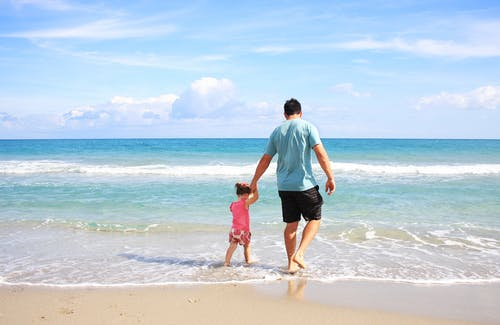 Father and Daughter on Beach