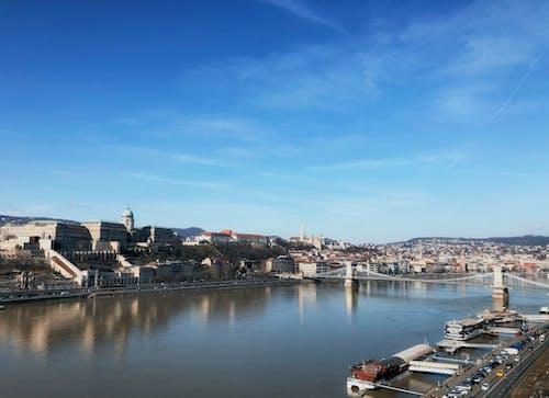 Free stock photo of big river, blue skies, blue sky