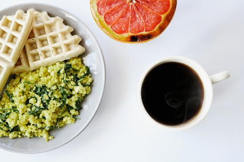 Egg and Spinach Omelet with Waffles