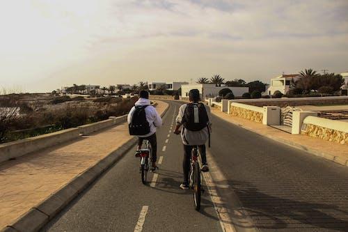 人們在路上騎自行車