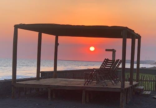 Free stock photo of beach sunset, beautiful sunset, chair