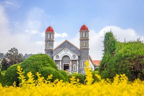 老天主教教會在維護良好的花園,映襯在藍天下