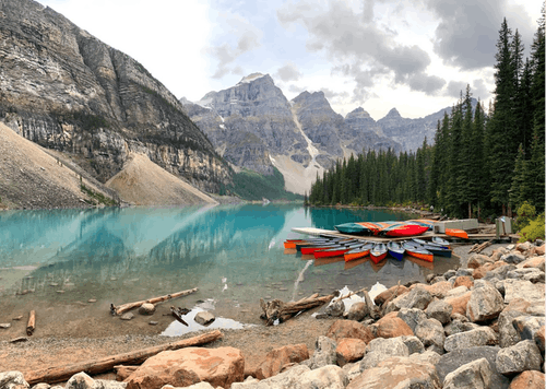 Canoes on Brown Rocky Shore Near Green Trees and Mountains