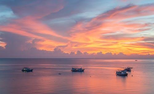 Moderne Schiffe, Die Im Meer Während Des Majestätischen Sonnenuntergangs Segeln