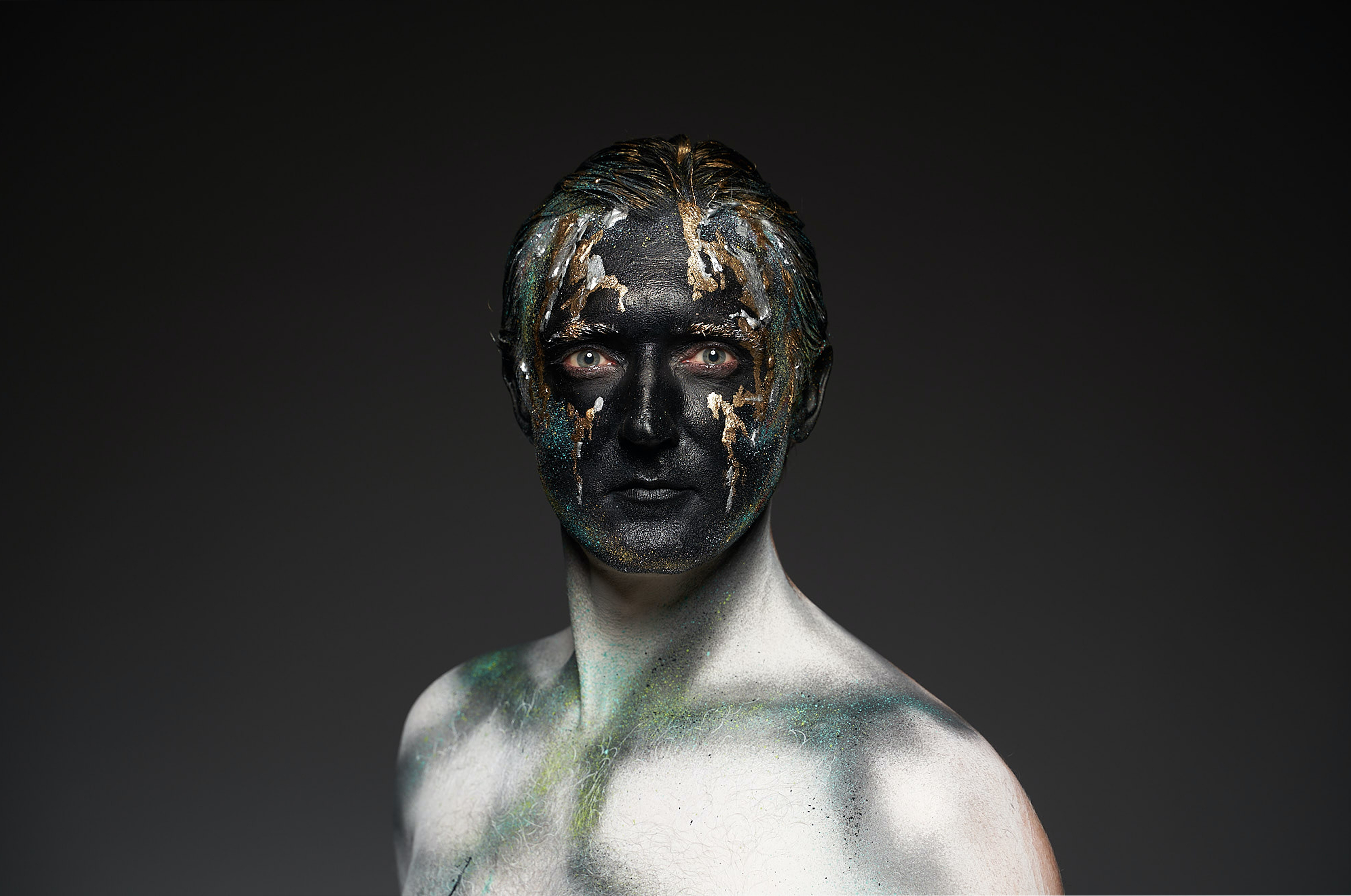 Man With Black And Gold Body Art Free Stock Photo