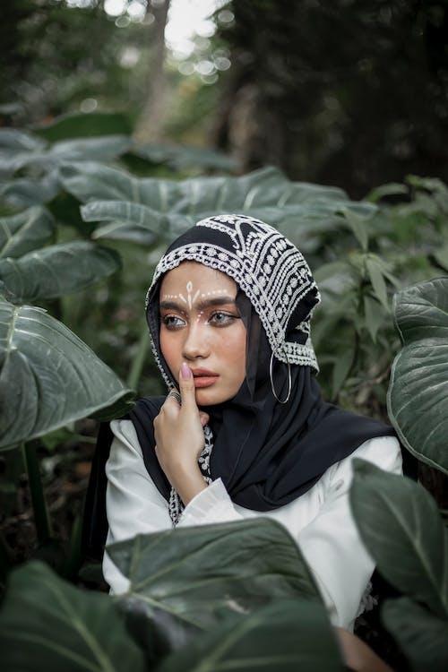 Mujer, En, Blanco Y Negro, Hijab