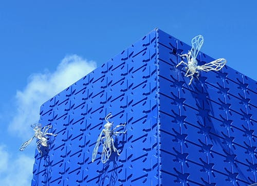 Free stock photo of architectural building, blue background, metal art, modern architecture