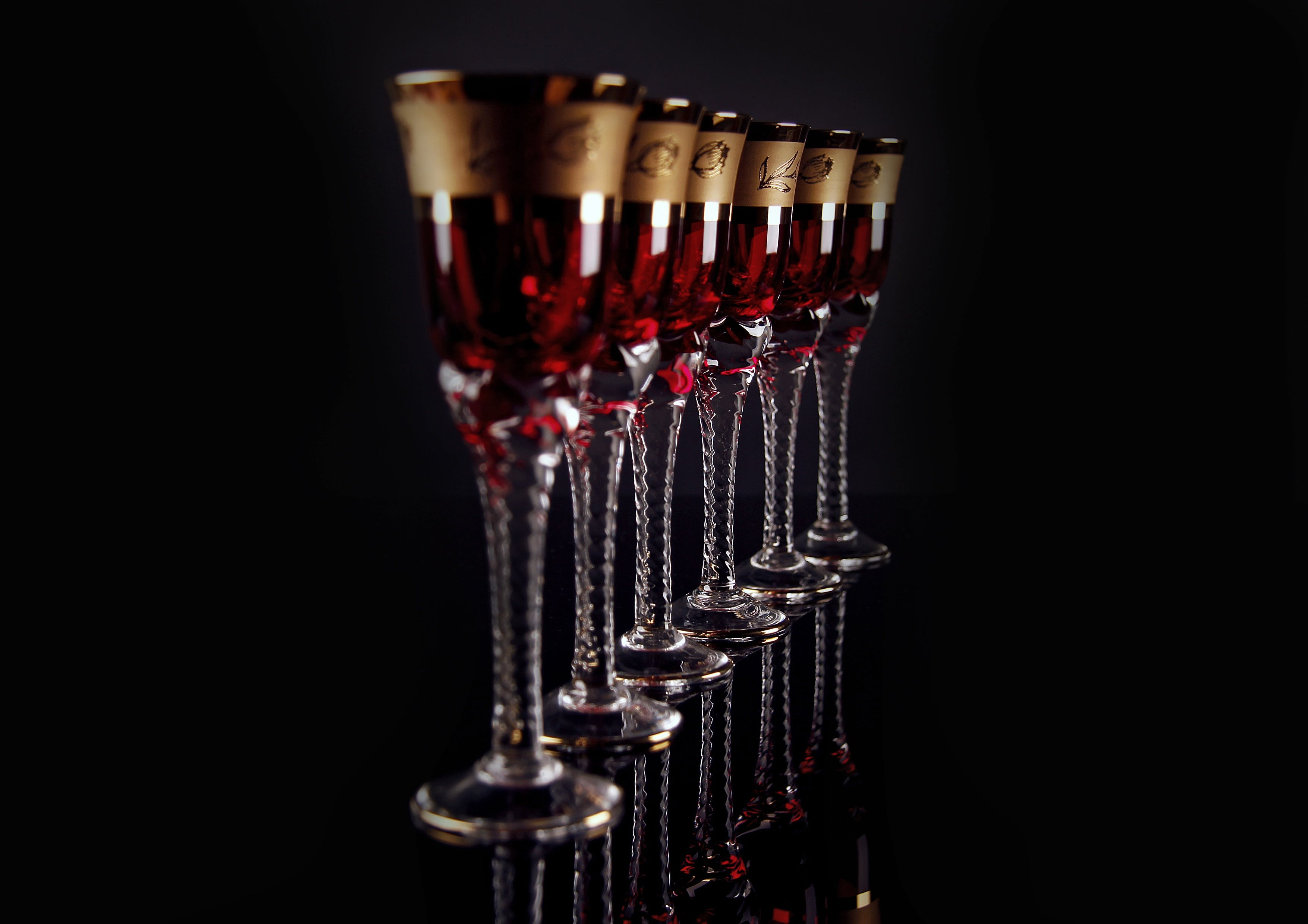 6 Red and Gold Footed Glass