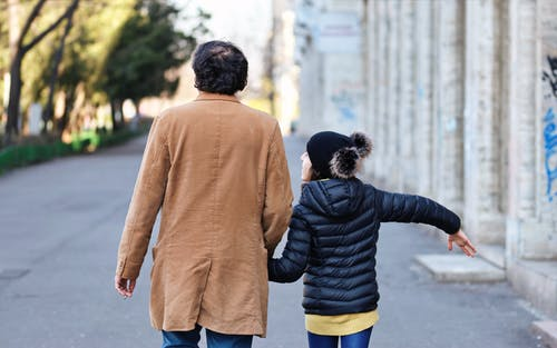 Back View of Father and Daughter Walking