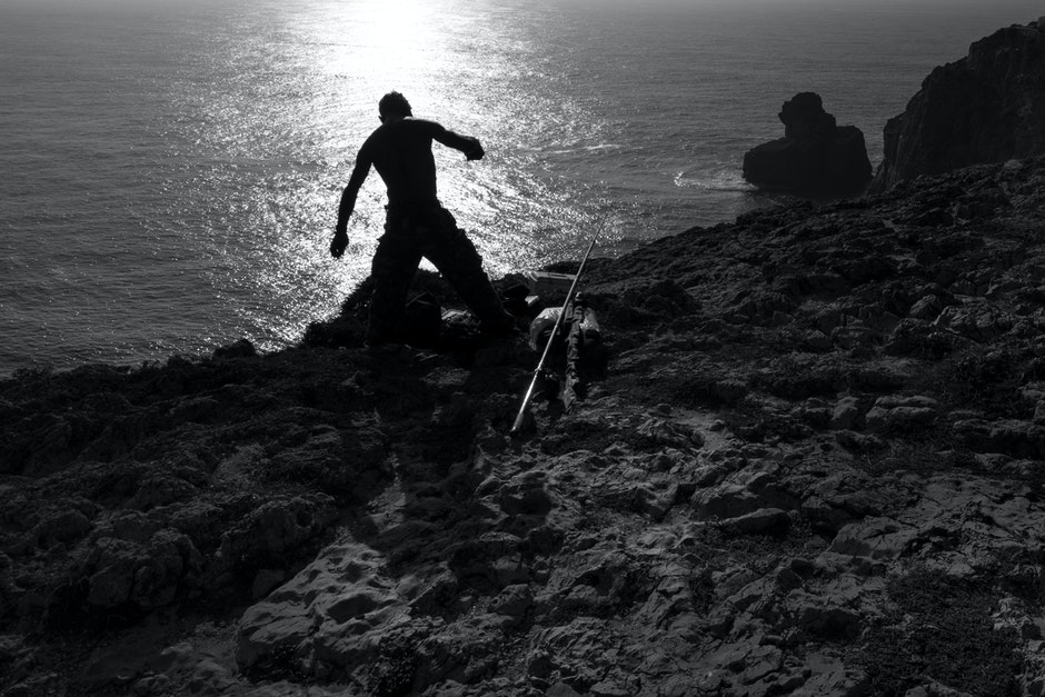 black-and-white, fisherman, fishing