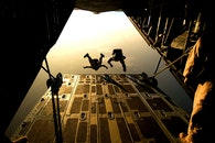 plane, skydiving, parachuting