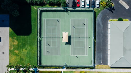 Green and White Tennis Court