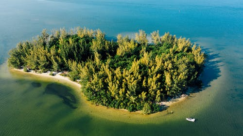 Aerial view of picturesque island with growing bright trees near picturesque ocean and motor boat in daylight in summertime